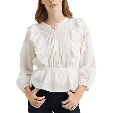Lucky Brand Womens Blouse White Size Large L Peplum Ruffled Eyelet