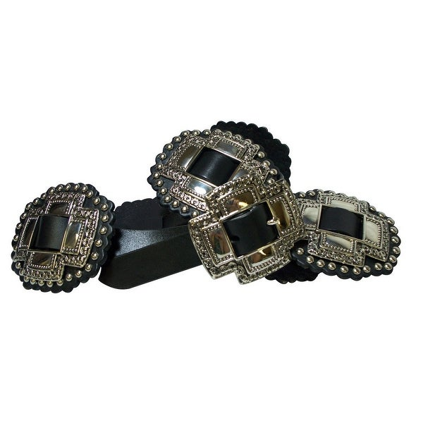 "Roper Western Belt Womens 1"" Cross Slide Conchos Black"