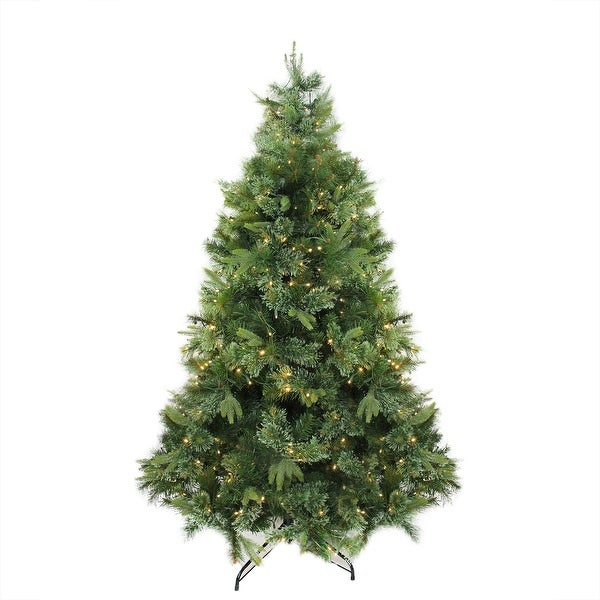 """7.5' x 55"""" Pre-Lit Cashmere Mixed Pine Artificial Christmas Tree - Warm White LED Lights - green"""