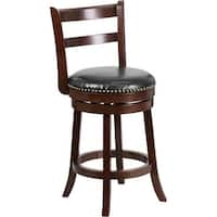 "Dyersburg 26"" High Wood Counter Stool Cappuccino, Black Leather Swivel Seat"