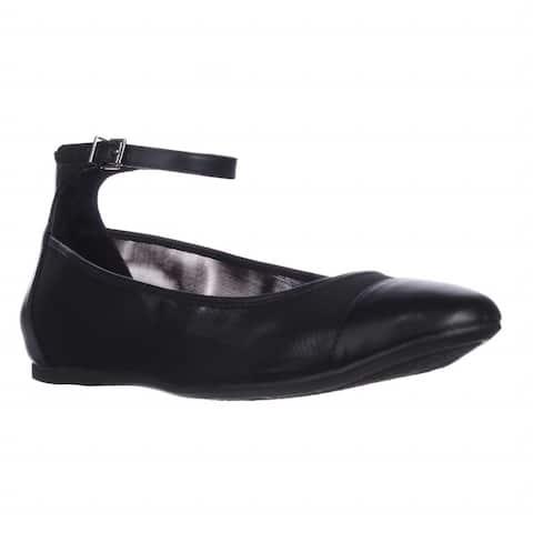 BCBGeneration Mesh Ankle Strap Flats, Black - 6.5 US