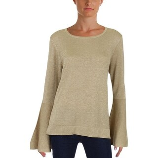 Vince Camuto Womens Crewneck Sweater Glitter Bell Sleeves