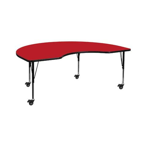 """Offex 48""""W x 72""""L Mobile Kidney Shaped Activity Table with 1.25"""" Thick Red Laminate Top and Height Adjustable Pre-School Legs"""