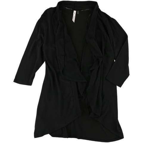 NY Collection Womens Draped Open-Front Cardigan Sweater, black, Large