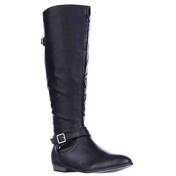 MG35 Capri Wide Calf Riding Boots, Black