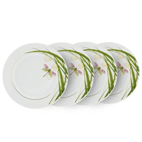 "STP-Goods Dragonfly Porcelain Dessert Plate 6.9"" (Set of 4)"