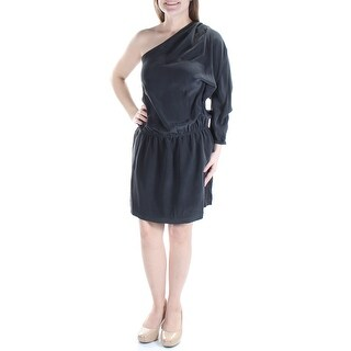 JOIE $358 Womens New 1124 Black Long Sleeve Asymetrical Neckline Dress M B+B