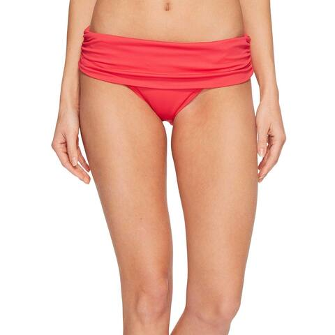 Ralph Lauren Beach Club Solids Wide Band Bikini Bottom Red Womens Swimsuit