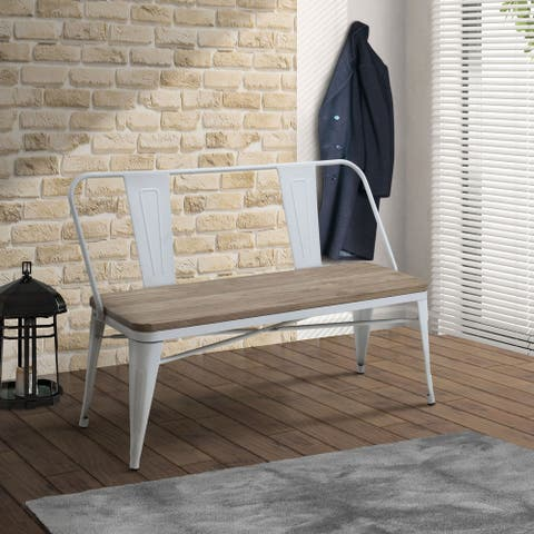 Furniture of America Rish Industrial Metal Natural Elm Dining Bench