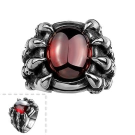 Vienna Jewelry Ruby Gem Stainless Steel Ring