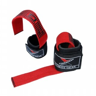 Weight Lifting Bar Straps Wrists Support Wrap Bandage Neoprene Pad LG-23 - blk/red