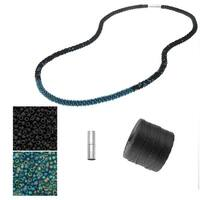 Refill - Long Beaded Kumihimo Necklace - Black & Rainbow Teal - Exclusive Beadaholique Jewelry Kit