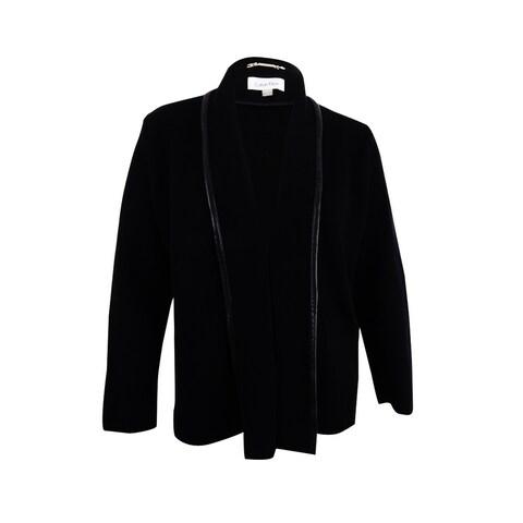 Calvin Klein Women's Plus Size Knit Leather Trim Jacket - Black - 3x