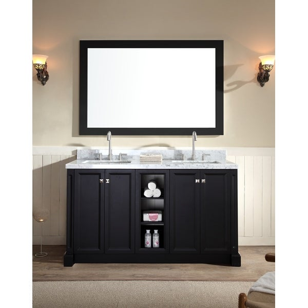 "Ariel C061D Westwood 61"" Free Standing Vanity Set with Wood Cabinet, Stone Top, 2 Undermount Sinks and 1 Mirror"