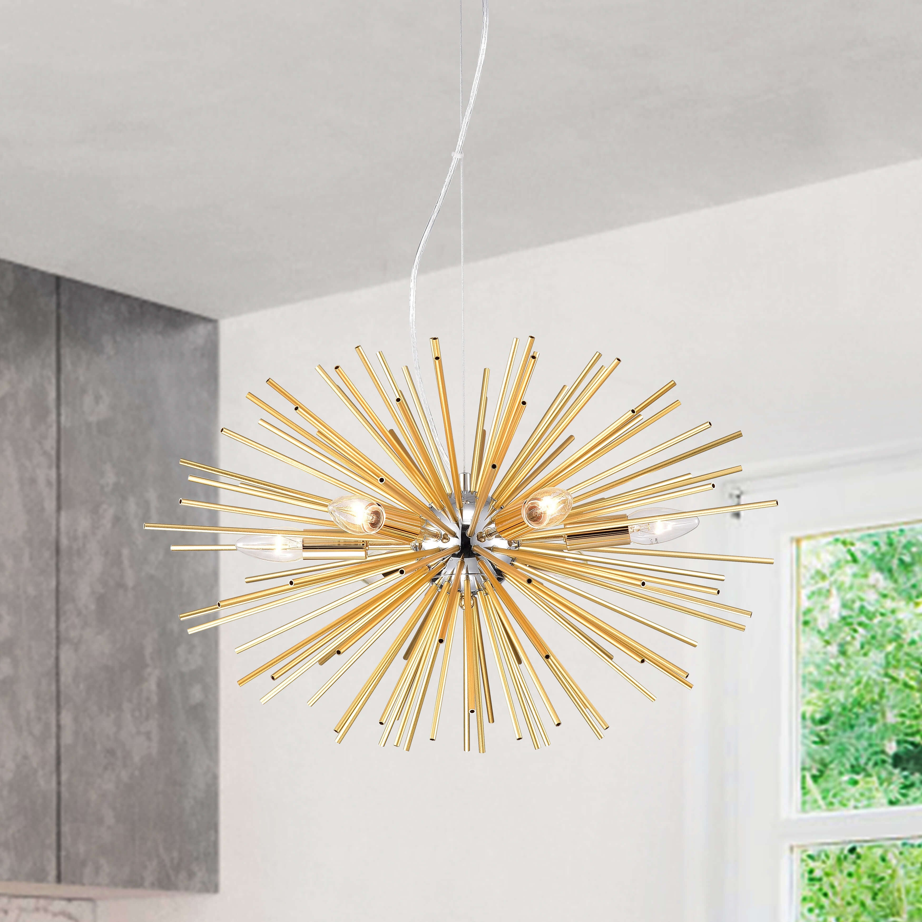 Shop Black Friday Deals On Lorena 6 Light Chrome And Champaign Gold Sputnik Chandelier Overstock 24123795