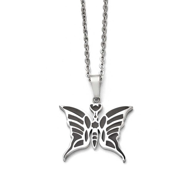 Chisel Stainless Steel Butterfly with Enamel 20in with ext Necklace - 20 in