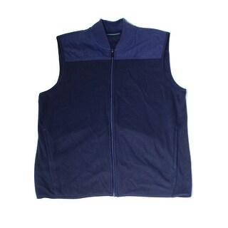 Perry Ellis NEW Blue Mens Size Large L Full-Zip Mock-Neck Vest Jacket