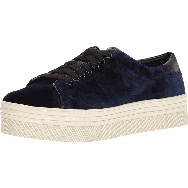 Marc Fisher Womens EMMY 6 Velvet Low Top Lace Up, Blue, Size 7.0