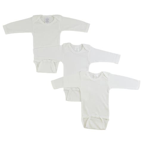 """Pack of 3 White Large Long Sleeve Onesies for 12 to 18 Months, 8"""""""