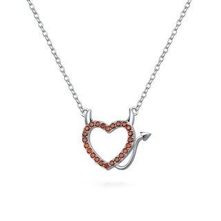 Bling Jewelry Devil Heart Red CZ Silver Pendant Necklace 16 Inches