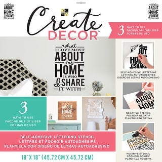 "Dcwv Create Decor Self-Adhesive Lettering & Stencil 18""X18""-What I Love Most About My Home...Black"