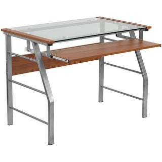Malcom Glass Home/Office Computer Desk w/Pull-Out Keyboard Tray