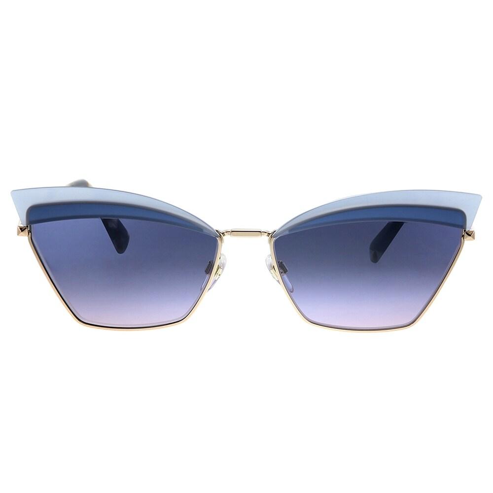 New Valentino VA 2029 3004I6 0 Metal Cat-Eye Sunglasses Blue Gradient Lens