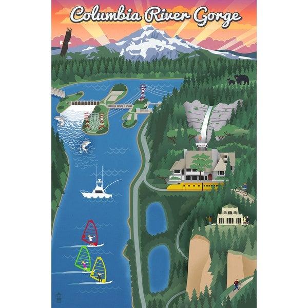 Columbia River Gorge, Oregon - Retro Scene - Lantern Press Poster (Art  Print - Multiple Sizes Available) - 9 x 12 Art Print