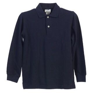 Boys Girls Navy Long Sleeve School Uniform Polo Shirt 8-16
