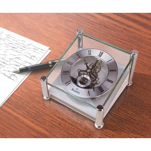 Bulova Quantum Glass Skeleton Desk Clock Free Shipping Today 11767467