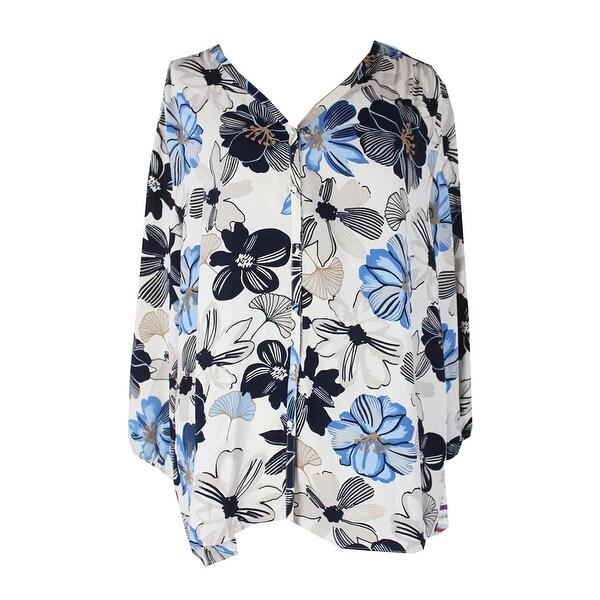 2f866c4b3662f Shop Charter Club Navy Multi Floral-Print V-Neck Blouse XXL - Free ...
