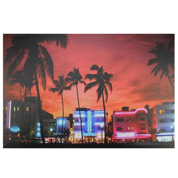 Led Lighted Famous South Beach Miami Florida Nightlife Scene Canvas Wall Art 15 75 X 23 5 Red On Free Shipping Orders Over 45