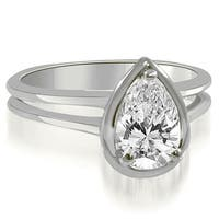 0.75 cttw. 14K White Gold Split Shank Pear Cut Halo Diamond Engagement Ring