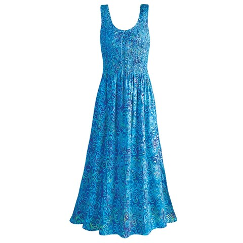 Women's Blue Caribbean Sleeveless Maxi Sun Dress - Hand Batik Print