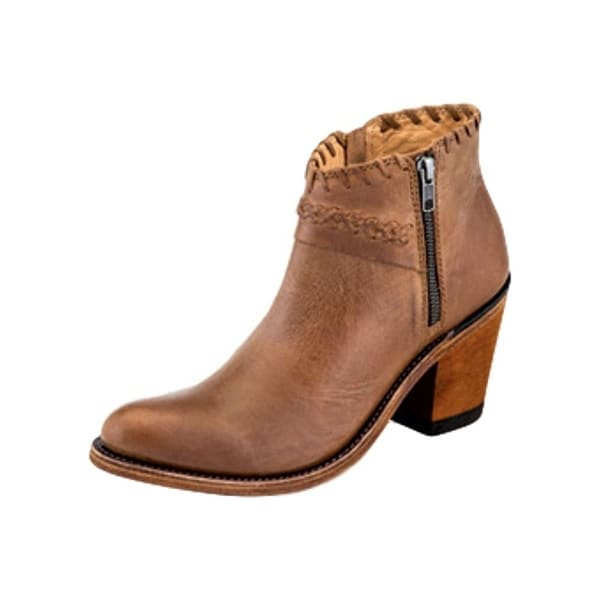 Old West Fashion Boots Womens Ankle Zip Leather Lined Tan Canyon