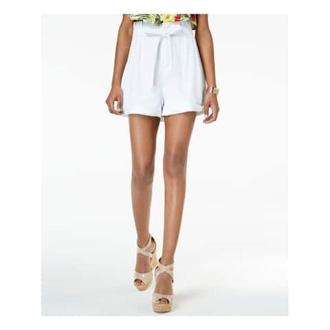 XOXO Womens White Rolled Hem Paper Bag Short Juniors Size: XL