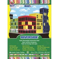 Riverside Construction Paper, 9 x 12 Inches, Assorted Colors, Pack of 50