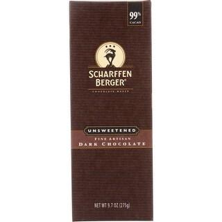 Scharffen Berger Baking Chocolate - 99 Percent Unsweetened - Bar - 9.7 oz - case of 6