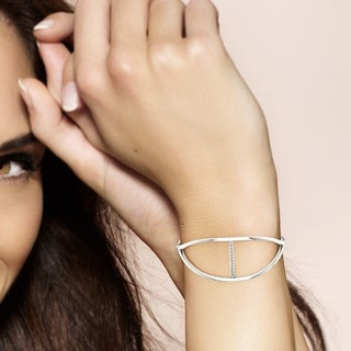 Link to 1/4 ct TDW Diamond Bangle in Silver by De Couer Similar Items in Bracelets