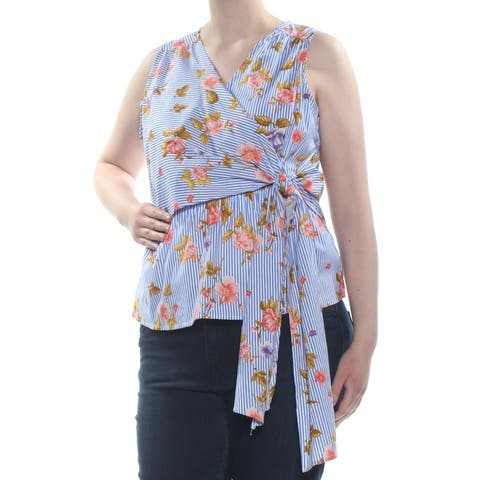 SAY WHAT? Womens Blue Tie Faux Wrap Sleeveless V Neck Top Plus Size: 1X