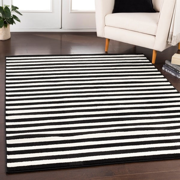 Reze Casual Striped Area Rug (7'10 x 10'3). Opens flyout.