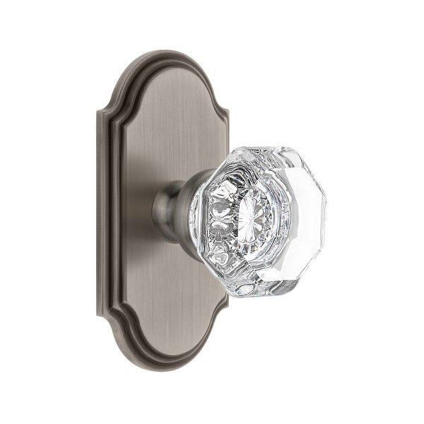 "Grandeur ARCCHM_PSG_234 Arc Solid Brass Rose Passage Door Knob Set with Chambord Crystal Knob and 2-3/4"" Backset"