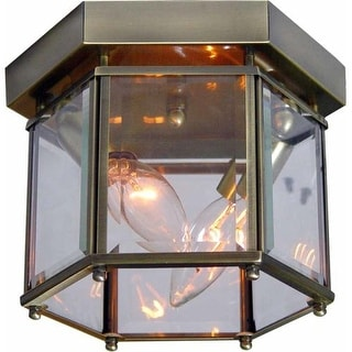 Volume Lighting V7222 2 Light Flush Mount Ceiling Fixture with Clear Beveled Glass Shade