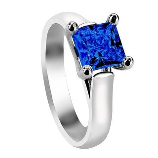 AZURA Four Prong Solitaire Silver Engagement Ring with Princess Cut Blue Sapphire Setting