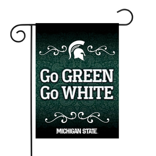"""18"""" x 13"""" Green and White College Michigan State Spartans Outdoor Garden Flag - N/A"""