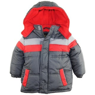 iXtreme Little Boys' Toddler CB Stripe with Patch Puffer Hooded Winter Jacket