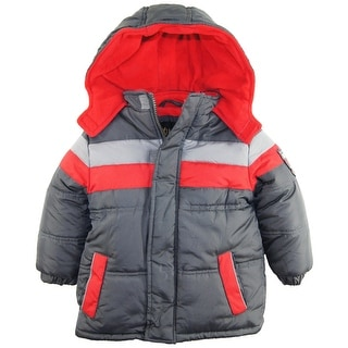 iXtreme Toddler Boys Stripe Expedition Puffer Hooded Winter Jacket Coat