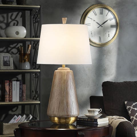 StyleCraft Bondi Round Faux Wood Table Lamp with Hammered Brass Base