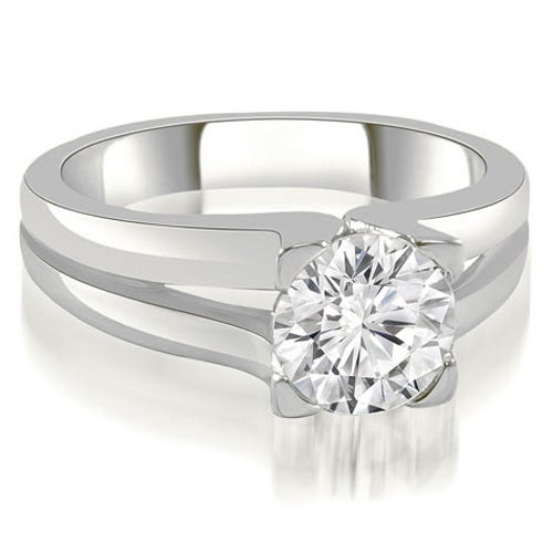 0.75 cttw. 14K White Gold Thick Split Shank Round Diamond Engagement Ring