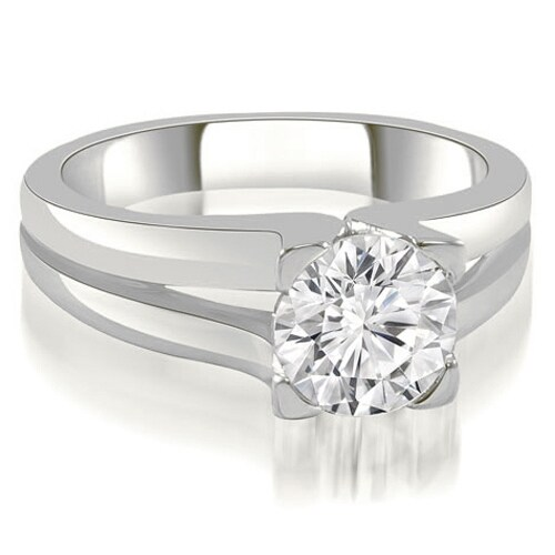1.00 cttw. 14K White Gold Thick Split Shank Round Diamond Engagement Ring